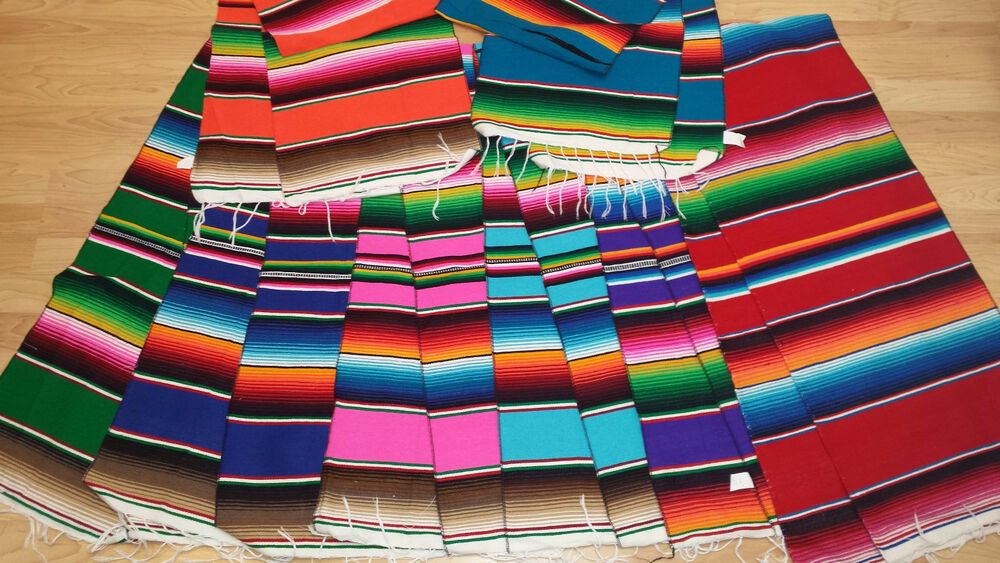 Mexican Table Runner Saltillo Serape Colorful Striped  : s l1000 from www.ebay.com size 1000 x 563 jpeg 162kB