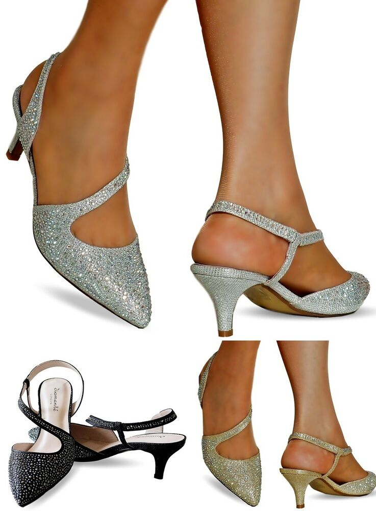 Diamante Kitten Heel Shoes | eBay
