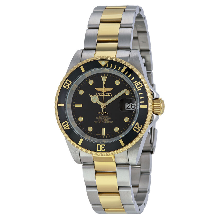 invicta pro diver automatic black two tone mens