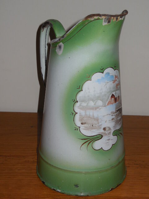 Vintage french enamelware pitcher winter for Garden design 1900