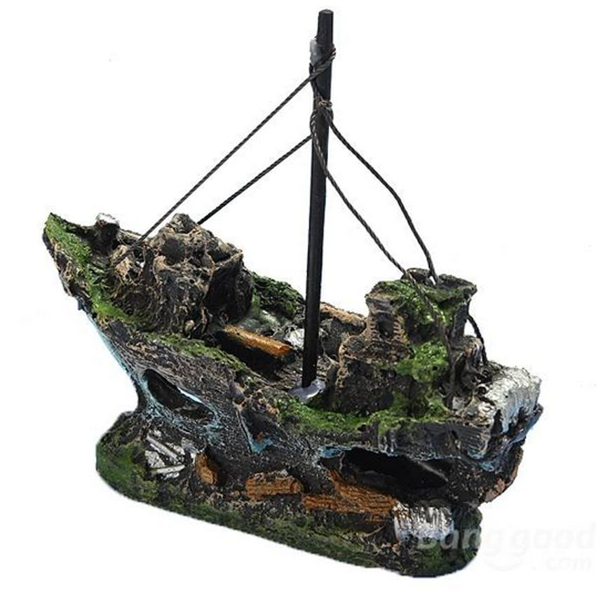 Resin pirate ship sunk sailing boat aquarium decoration for Fish tank pirate ship