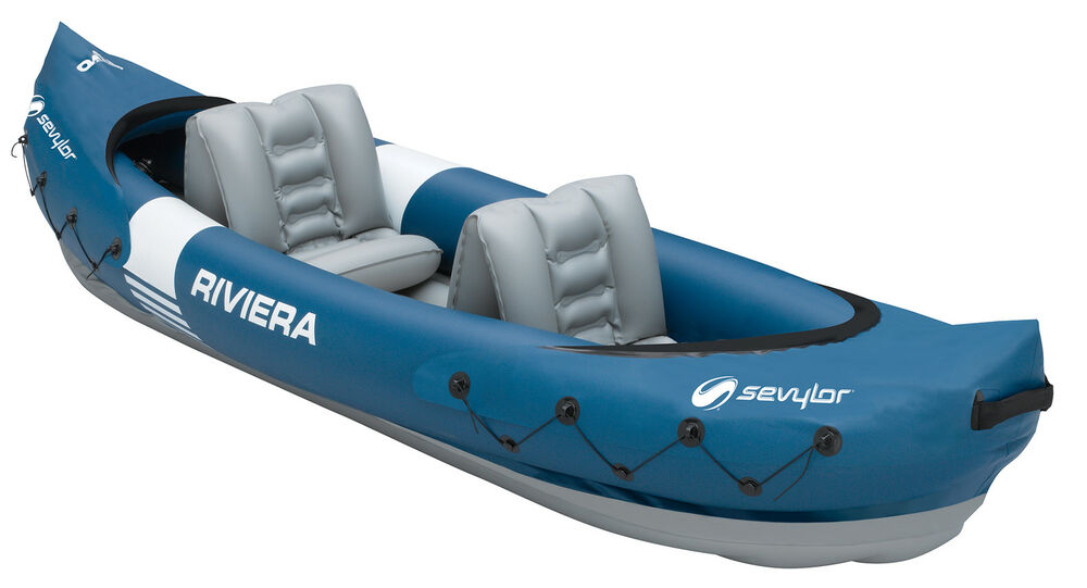 sevylor riviera 2 person inflatable kayak paddle boat. Black Bedroom Furniture Sets. Home Design Ideas