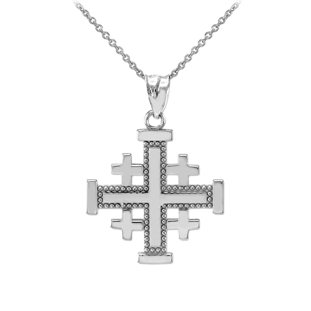 sterling silver jerusalem cross pendant necklace ebay. Black Bedroom Furniture Sets. Home Design Ideas