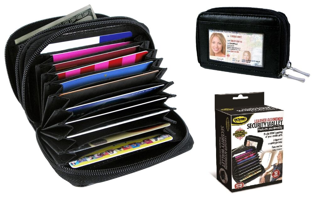 Deluxe Leather Security Rfid Accordion Wallet Zipper Case Credit Card Holder New Ebay