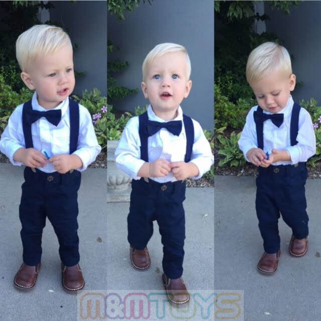 New Matching Clip On Suspender Bowtie For Kids Toddler