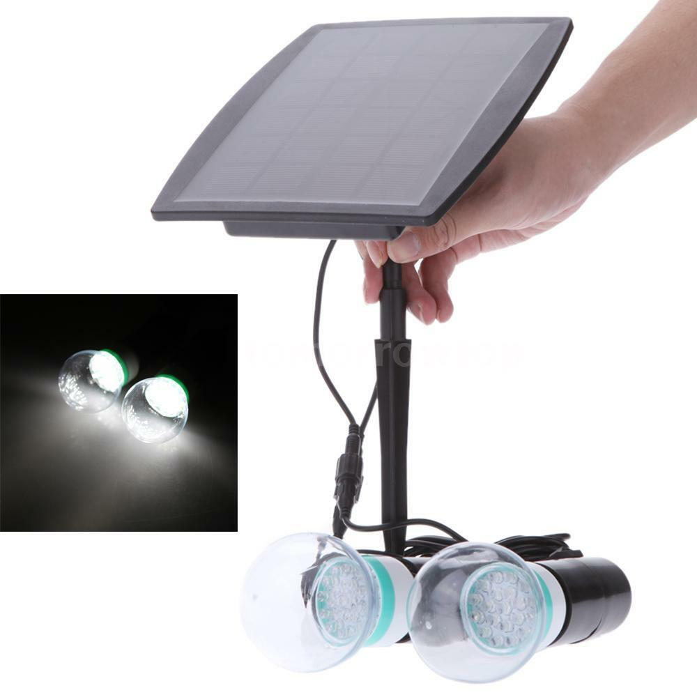 outdoor solar power led lighting 2 bulb lamp system solar panel system kit 43th ebay. Black Bedroom Furniture Sets. Home Design Ideas