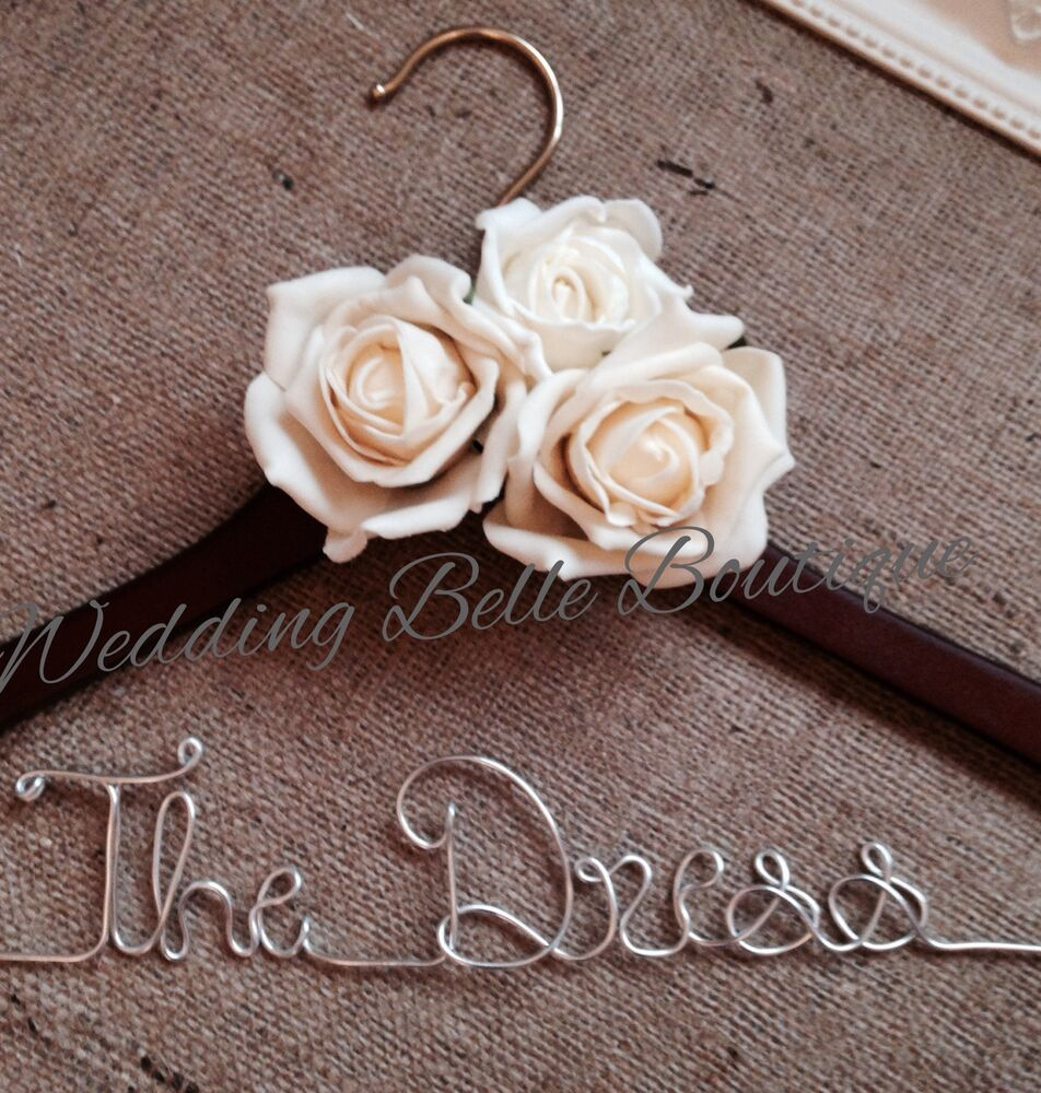 Personalised wedding dress coat hanger with roses in any for Wedding dress coat hanger