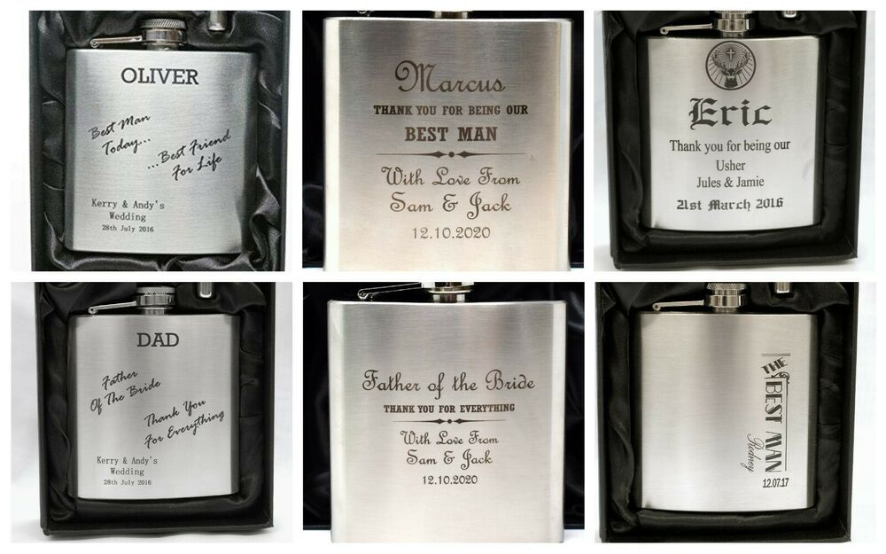 Personalised Wedding Usher Gifts : Personalised WEDDING Hip Flask in Silk Gift Box For Best Man/Usher/Dad ...