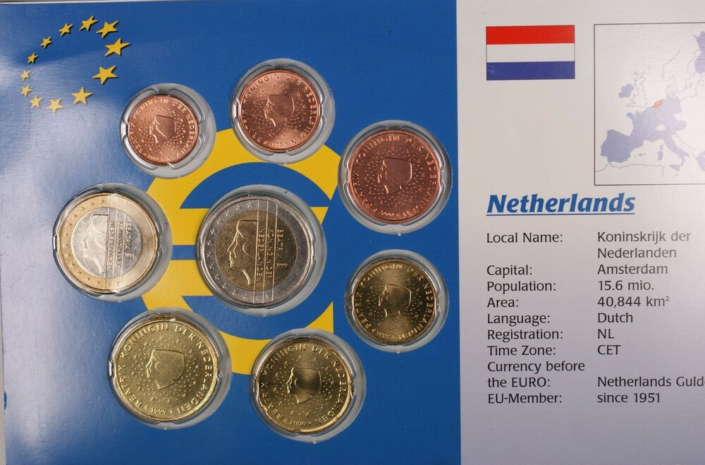 Netherlands Euro Uncirculated 8 Coin Set Mixed Dates 1999