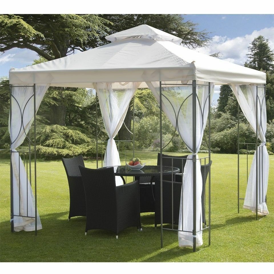Details About Cream 2 5m Garden Gazebo Polenza Party Tent Patio Shade Outdoor Sun Canopy Nets