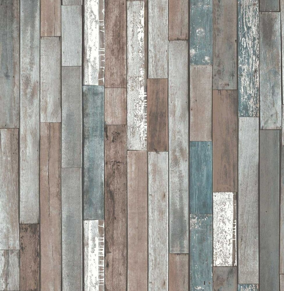 Fine Decor Faux Natural Reclaimed Wood Plank Effect