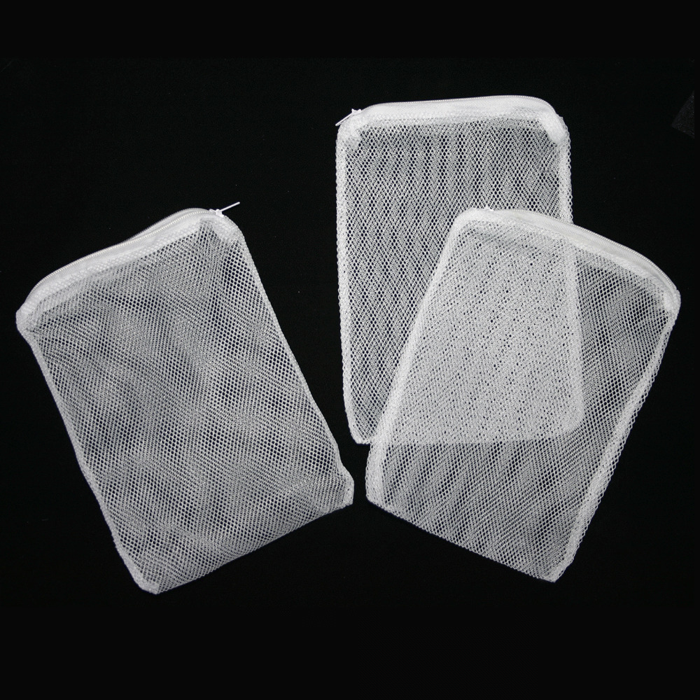 3 pcs filter media mesh bags zipper reusable aquarium fish for Fish pond filter mesh