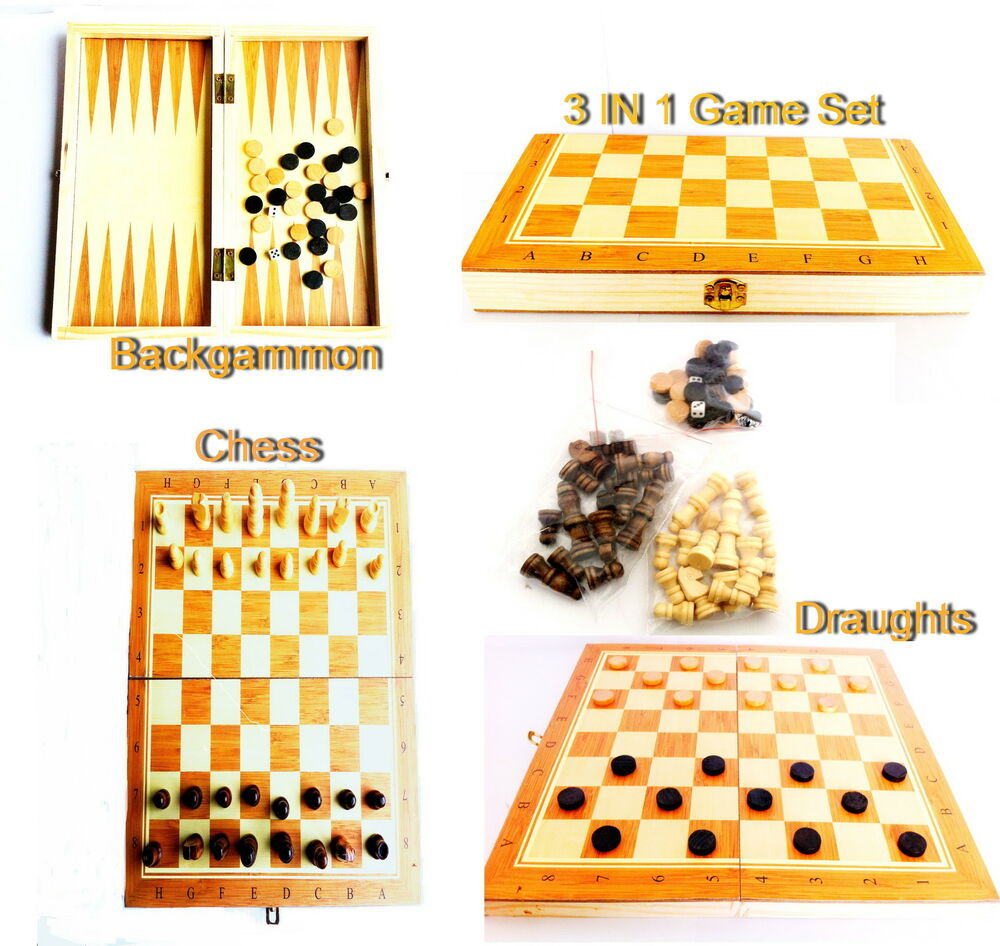 3 in 1 wooden board backgammon game set compendium travel Where can i buy a chess game