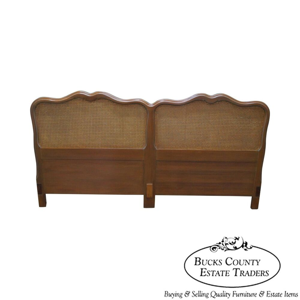 Vintage 1950s fruitwood french style cane back king size for King size headboard