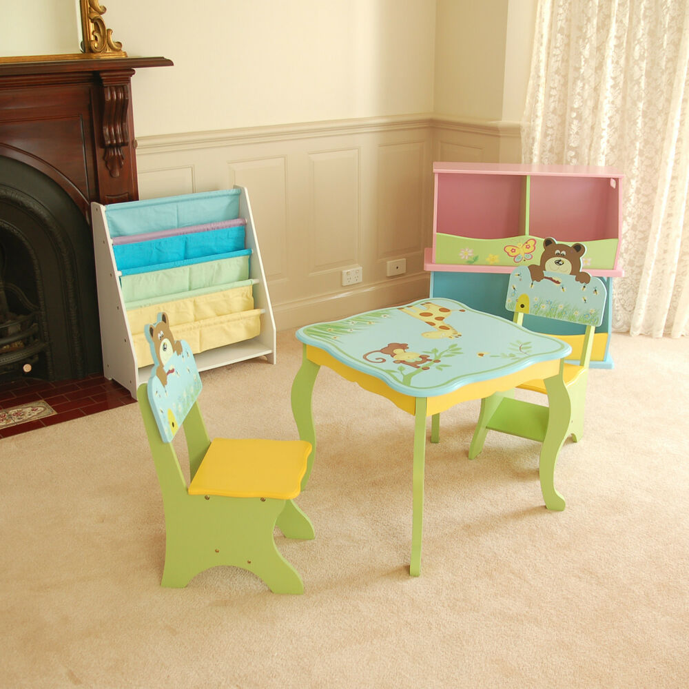 Brand new blue wooden hand paint kids boys animal table 2 chair set furniture ebay Wooden childrens furniture