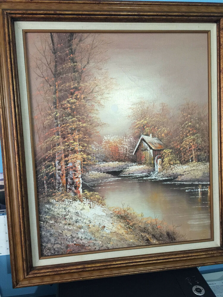 Vintage oil painting by henderson original signed canvas for Log cabin painting