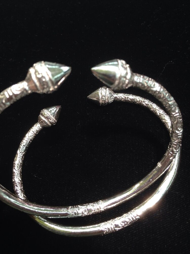 Pair Of Handmade West Indian Sterling Silver Bangles Ebay