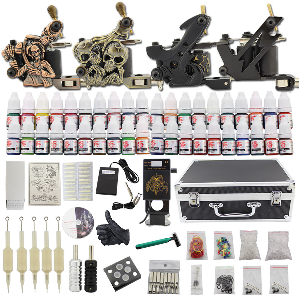 Professional complete tattoo kit 4 top machine gun 40 ink for Tattoo supplies ebay