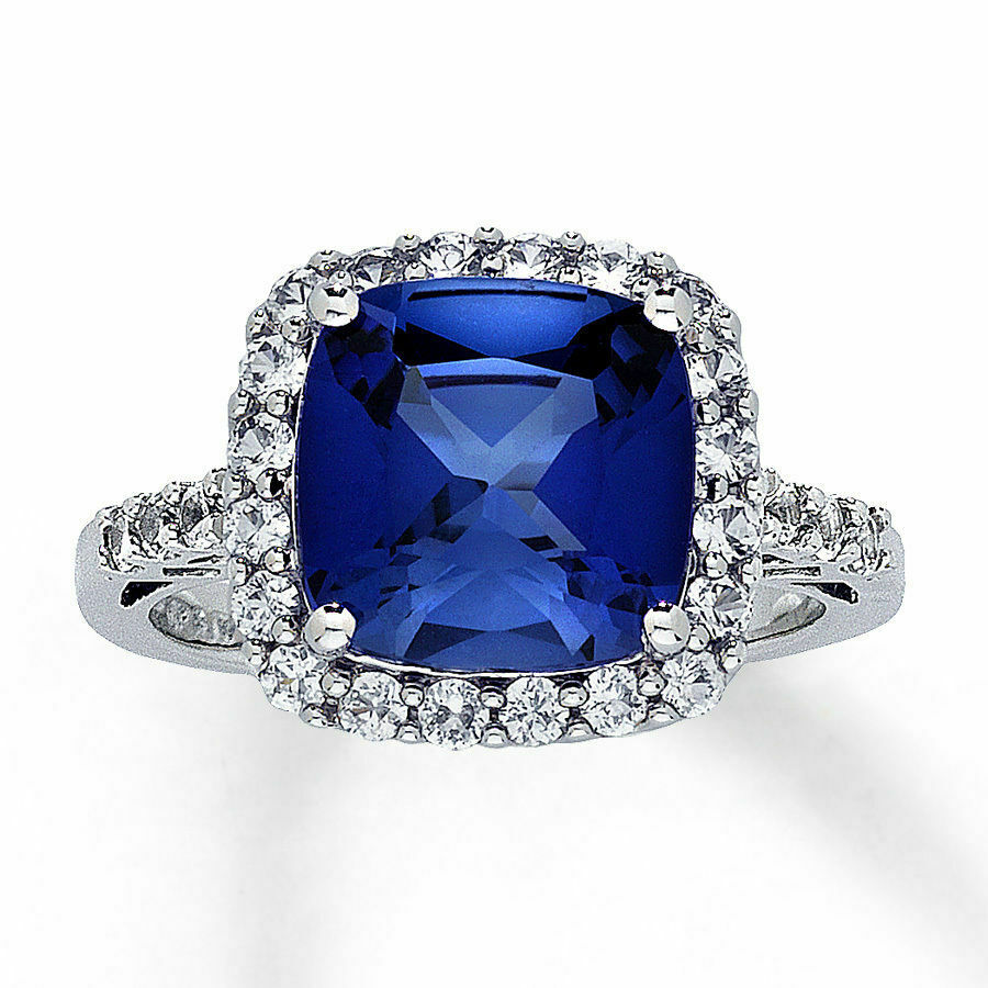 lab created sapphire ring cushion cut 10k white gold ebay. Black Bedroom Furniture Sets. Home Design Ideas