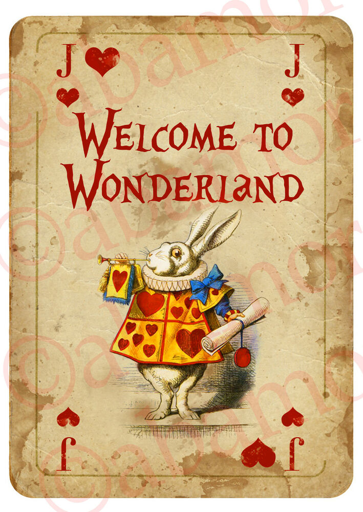 1 Alice In Wonderland A4 Welcome Sign Playing Card Prop