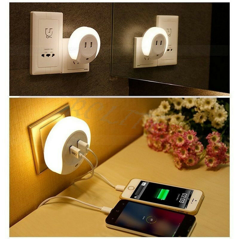 Creative LED Light Sensor Dual USB Charger Night Light Wall Plate Lamp US Plug eBay