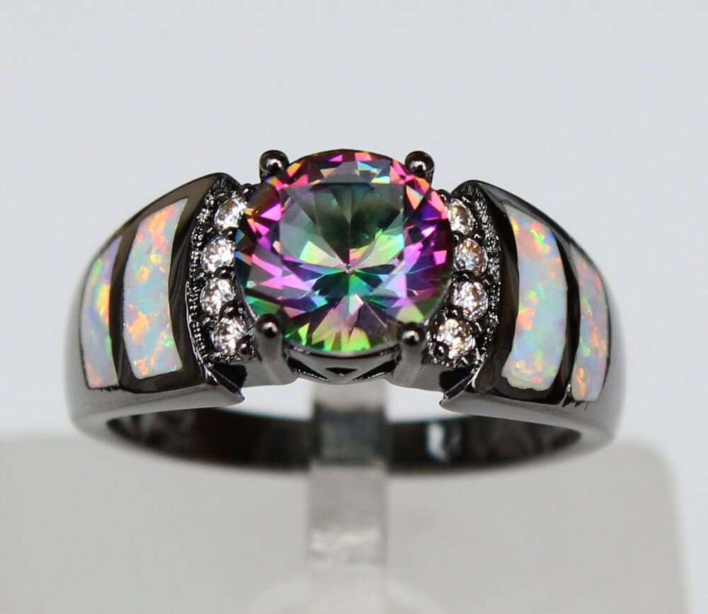 Graceful Black Gold Plated White Fire Opal Rings With