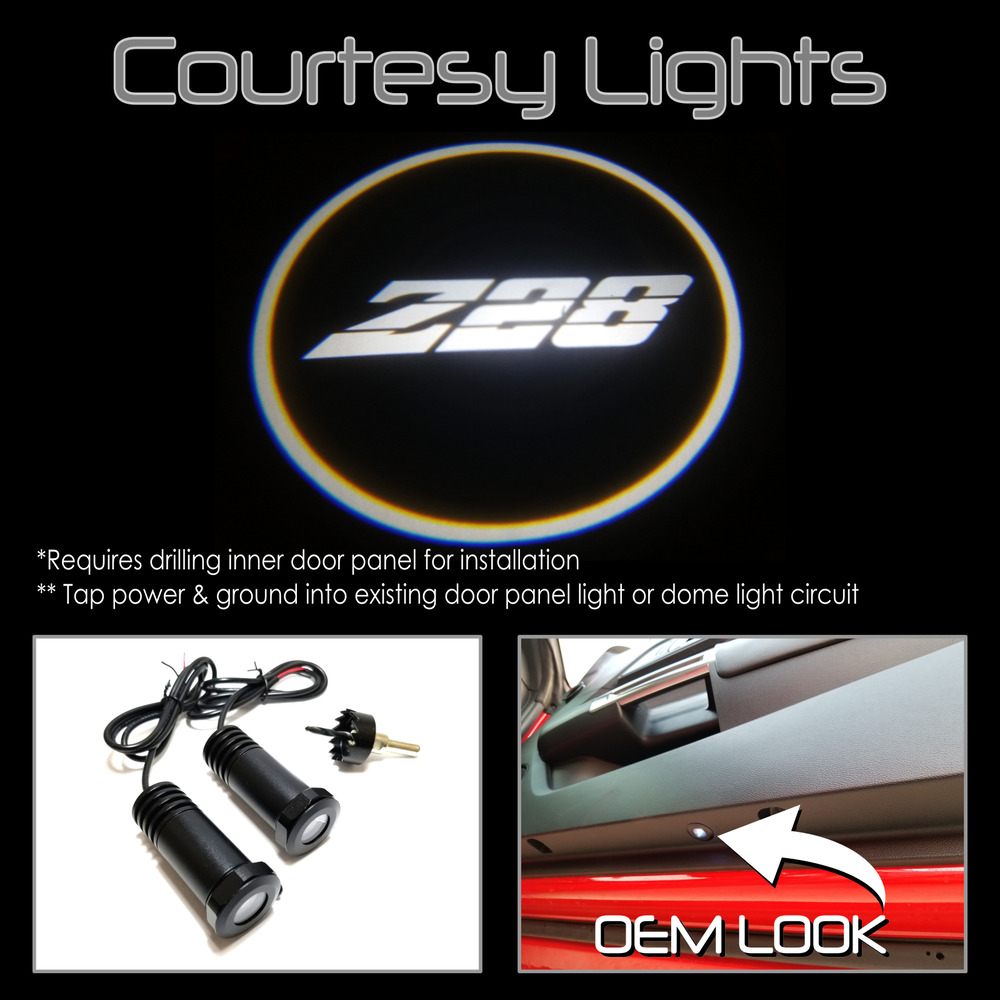 2Pc Camaro Z28 Z/28 LED Courtesy Ghost Shadow Lights Door