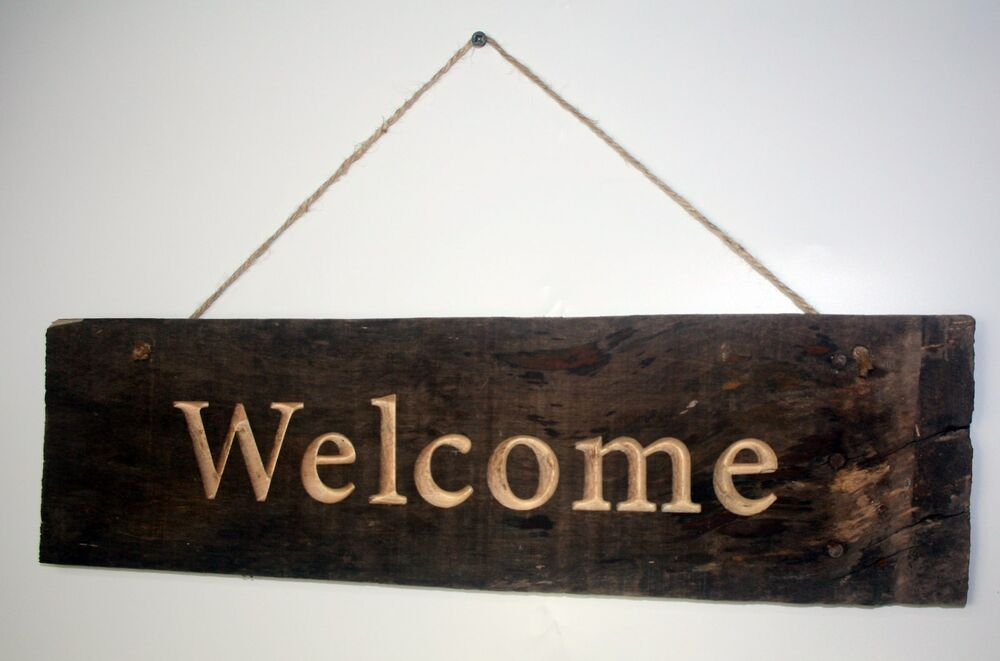 Welcome Sign Solid Maple Barn Wood Rustic Country