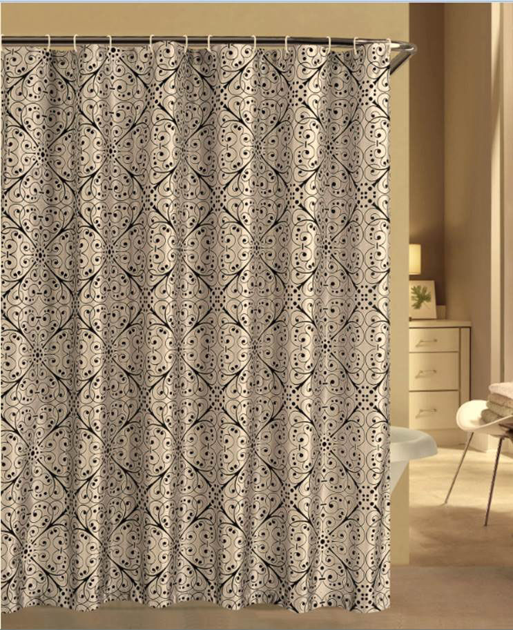 S L Home Fashion Shower Curtain With Hooks And Liner Silver Black Ebay