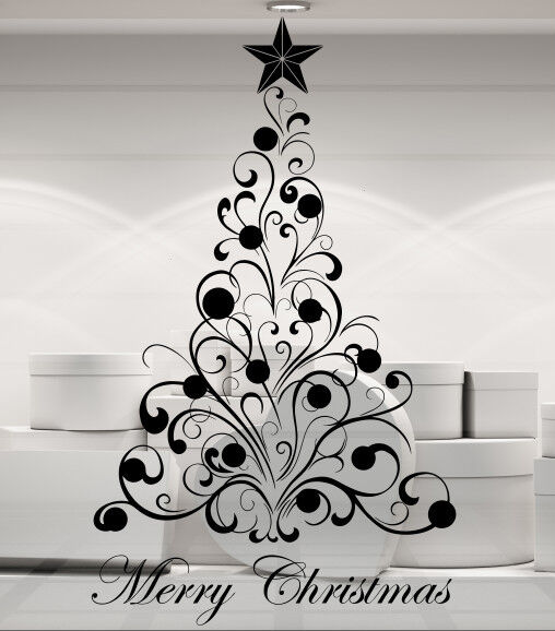 Liamaria Christmas Tree Wall Decoration : Christmas tree and baubles merry window wall