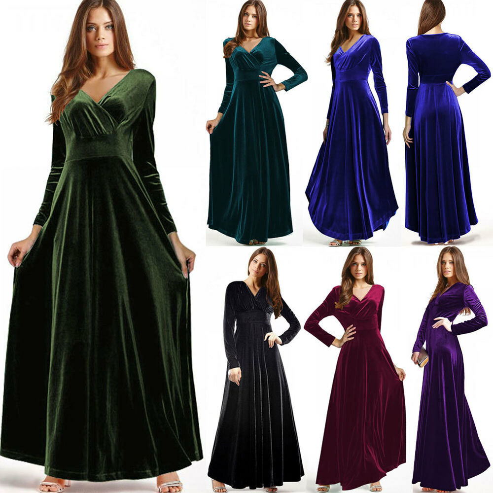 Women Vintage Long Sleeve Maxi Velvet Bridesmaid Evening