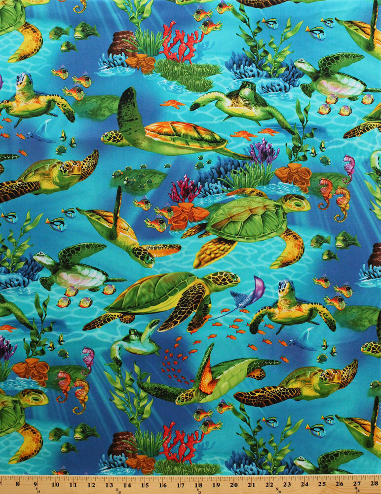 Sea turtles underwater ocean fish plants cotton fabric for Fish fabric by the yard