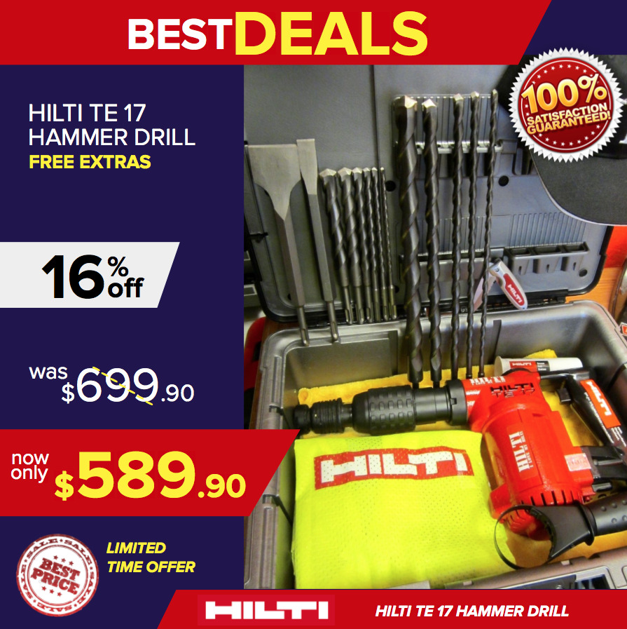 hilti te 17 mint condition heavy duty case 2 sets of free bits fast shipping ebay. Black Bedroom Furniture Sets. Home Design Ideas