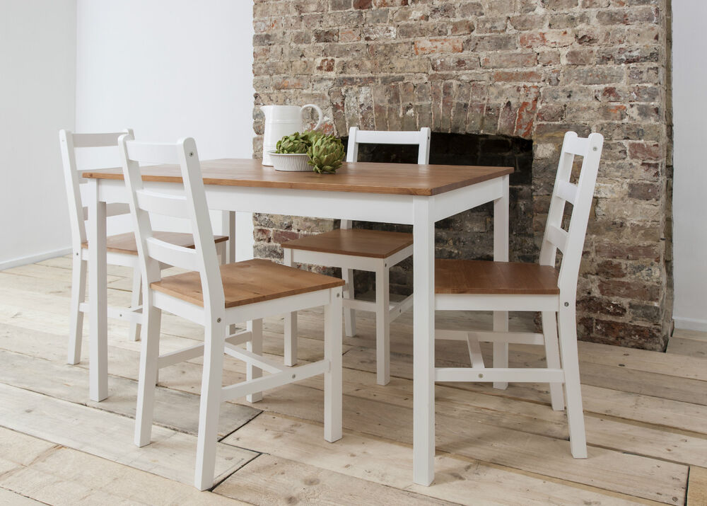 Dining table and 4 chairs contemporary dining set in choice of colours annika ebay - Rectangle kitchen table sets ...