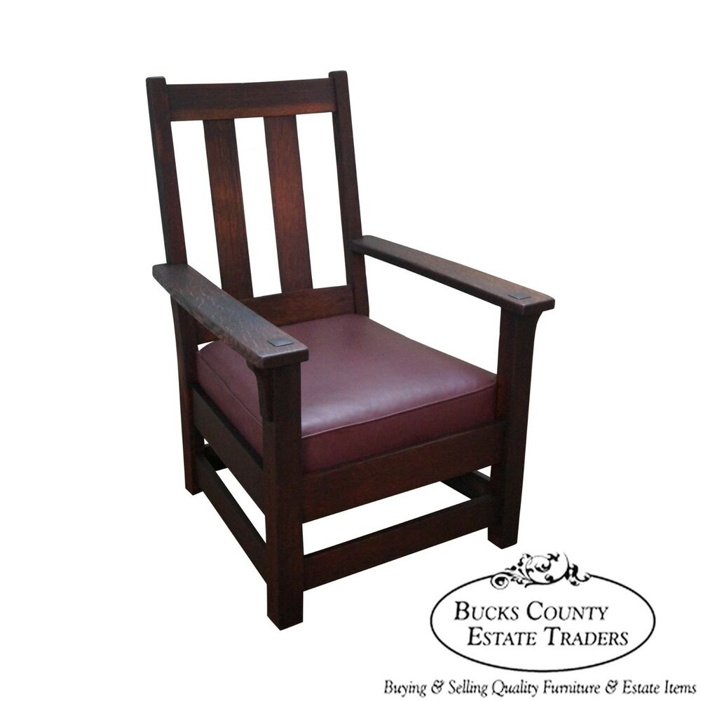 Oak Chairs With Arms ~ Limbert antique mission oak lounge arm chair ebay