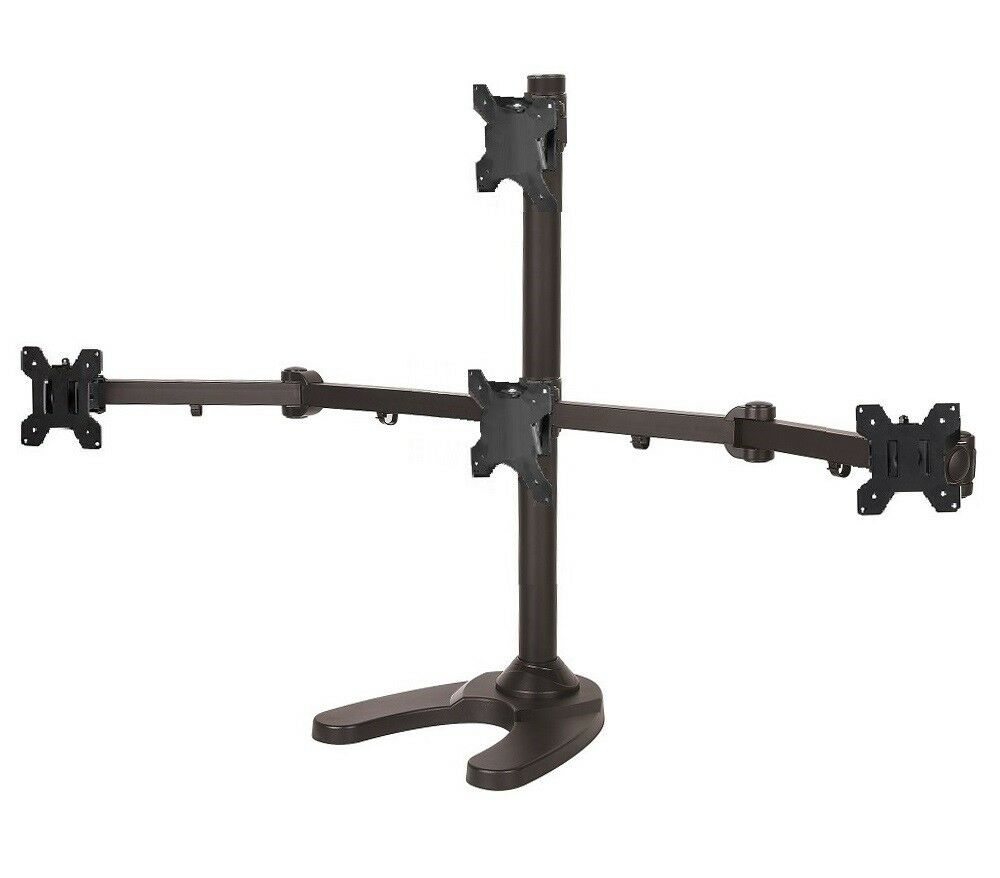 Ezm Pyramid Quad Monitor Mount Stand Free Standing Up To