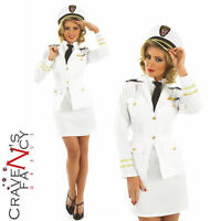40s Lady Naval Officer Sailor Captain WW2 Fancy Dress Costume Ladies Outfit 8-26