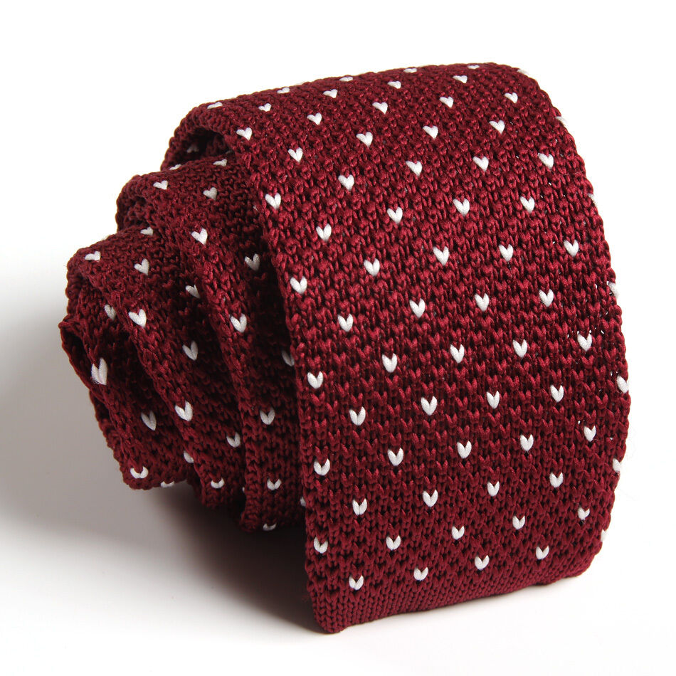 Fashion Mens Wine Red Pattern Tie Knit Knitted Party Necktie Slim Skinny...