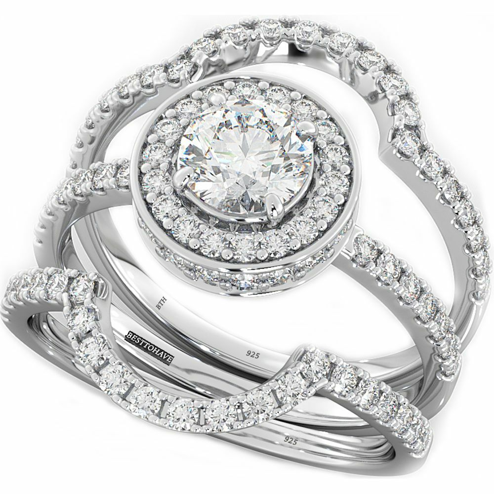 4.9ct 925 Silver Ladies 3 Piece Wedding Engagement Round