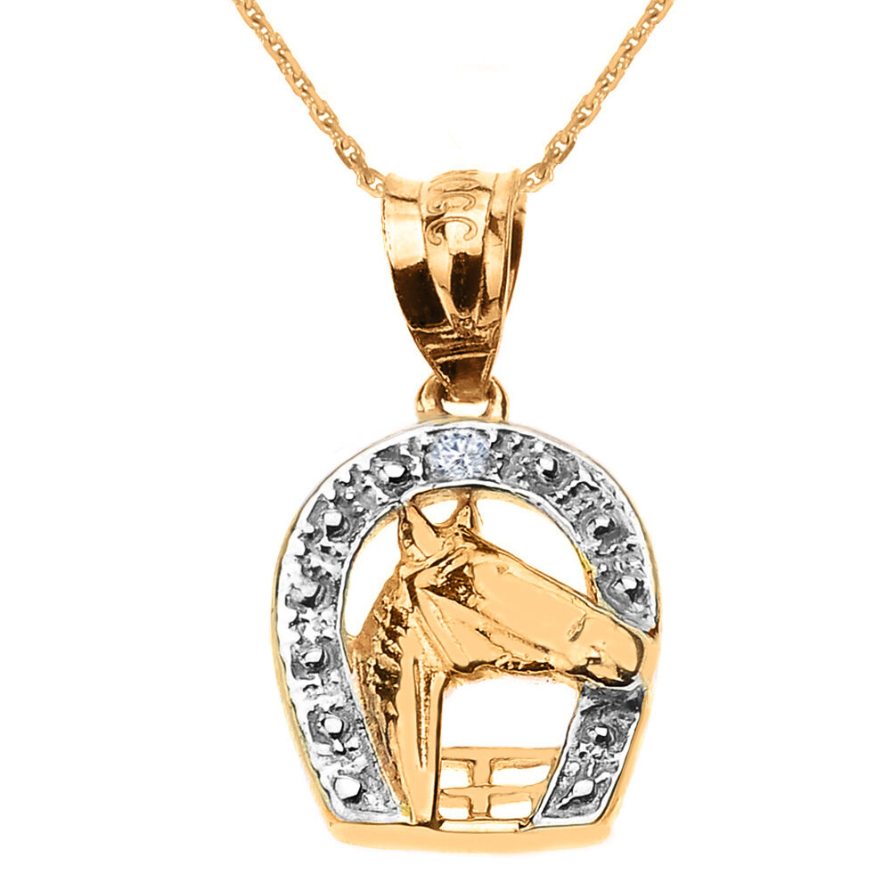 Yellow 10k gold diamond horseshoe with horse head pendant for 10k gold jewelry
