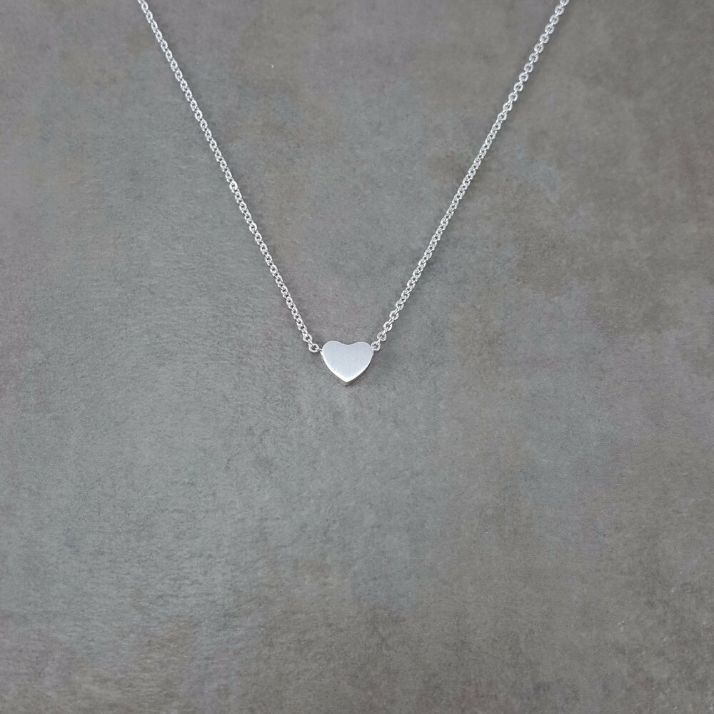 Silver Plated Tiny Heart Necklace Choker Adjustable Womens Love Charm Pendant Ebay