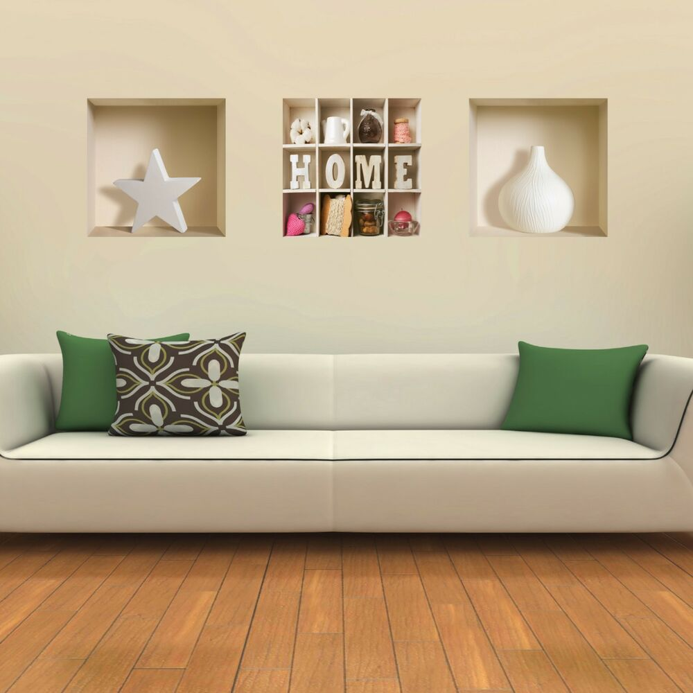 Set 3 art wall stickers 3d magic removable home decor for Home decor vinyl flooring