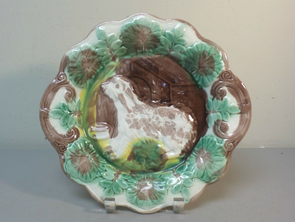 Antique English Majolica 10 5 Quot Cabinet Plate Dog And