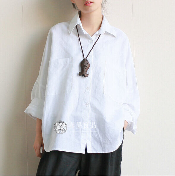 Women 39 s long sleeve casual linen loose tops blouses white for Womens linen shirts blouses