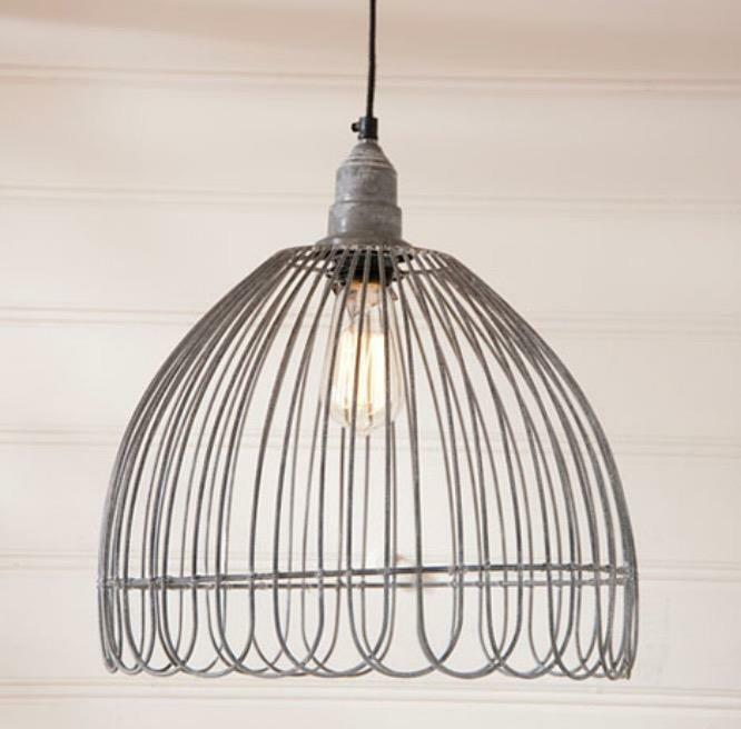 VINTAGE WIRE PETAL Cage PENDANT HANGING LIGHT FARMHOUSE COUNTRY LIGHTING