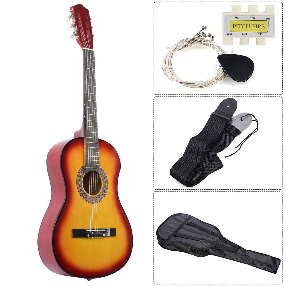acoustic guitar w guitar case strap tuner and pick for new beginners sun ebay. Black Bedroom Furniture Sets. Home Design Ideas