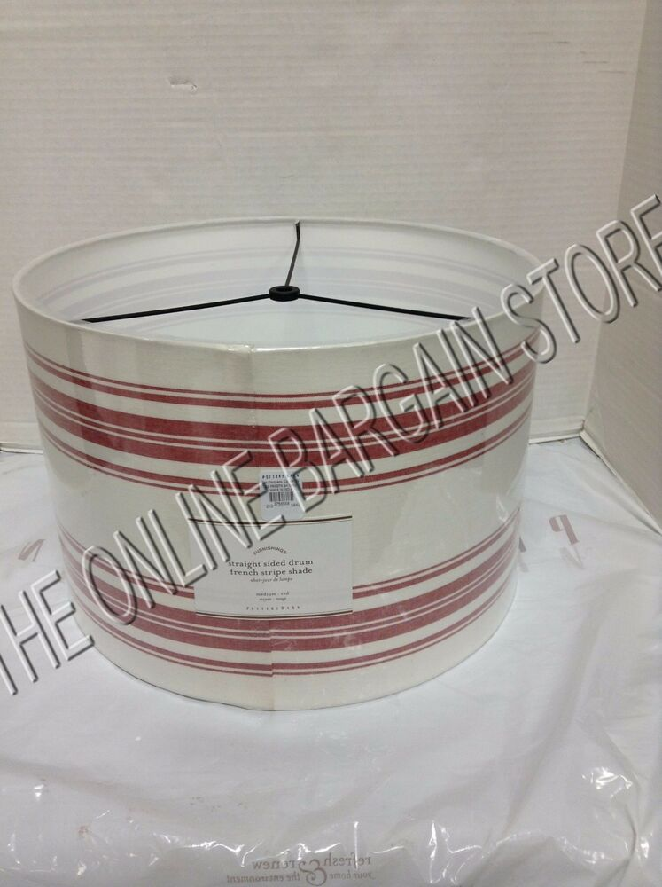 pottery barn pb straight sided drum french stripe light lamp shade red. Black Bedroom Furniture Sets. Home Design Ideas