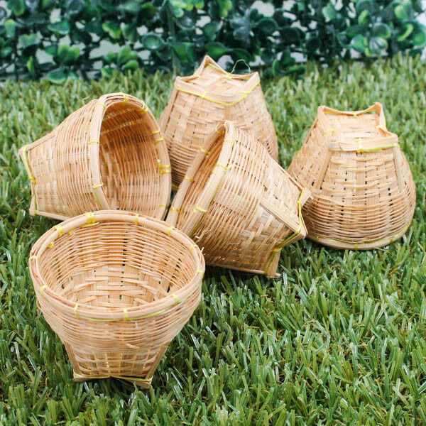 How To Weave A Mini Basket : Mini quot vintage handcraft model weaving basket bamboo wood