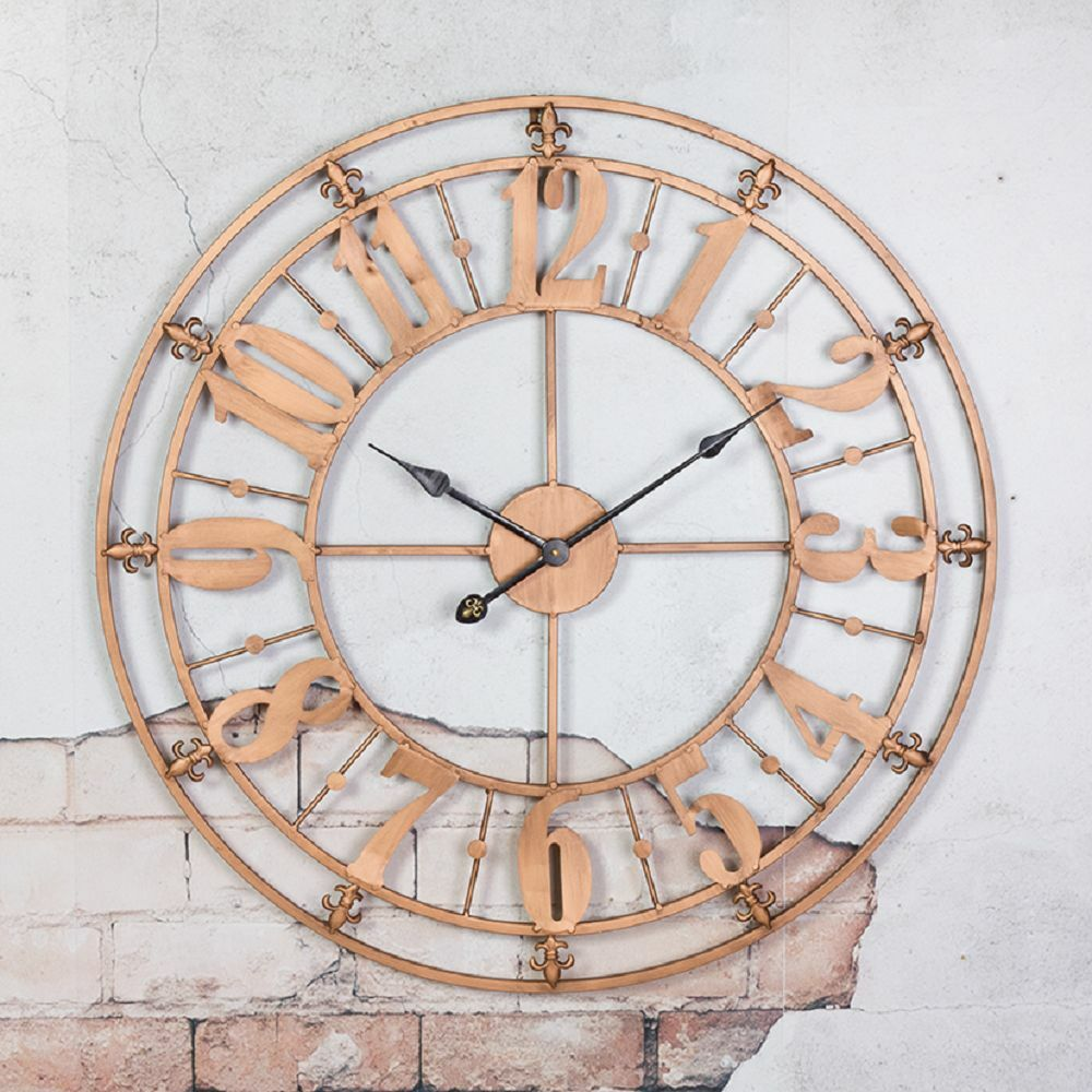 Extra Large Copper Distressed Metal Wall Clock 74cm Ebay