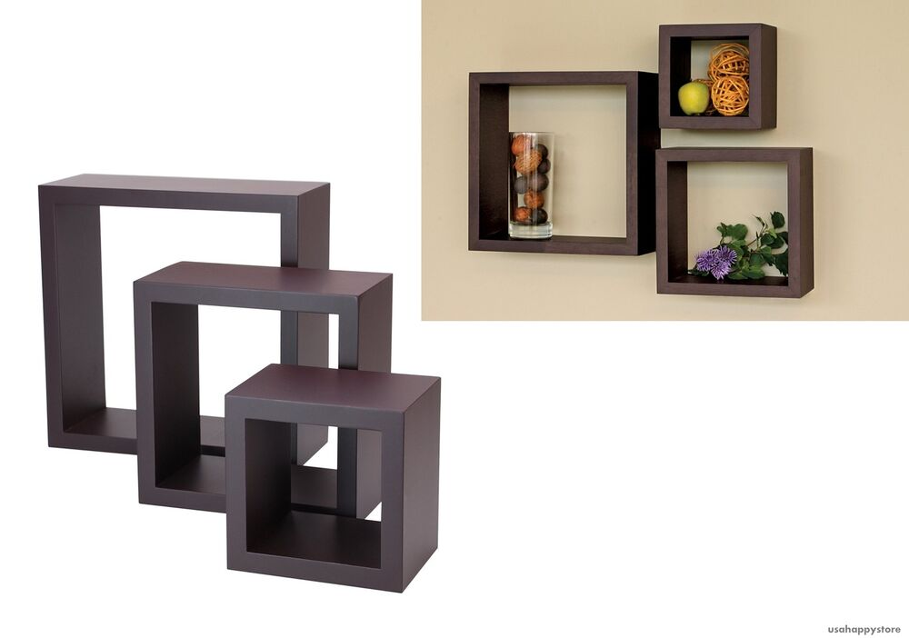 floating wall shelves wood cube set of 3 vintage decorative display mount decor ebay. Black Bedroom Furniture Sets. Home Design Ideas